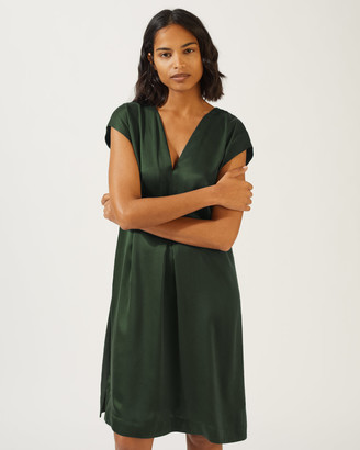Jigsaw Sandwashed Satin Silk Front Dress