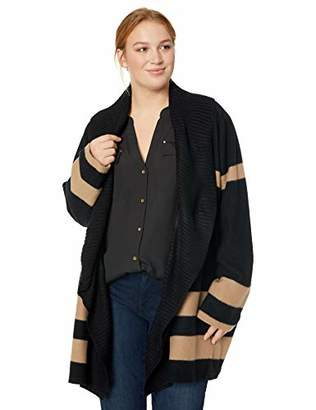 Calvin Klein Women's Plus Size Colorblock Cardigan with Ribbed Trim