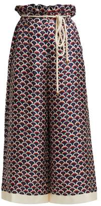 Valentino Scale Print Paperbag Waist Silk Trousers - Womens - Navy Multi
