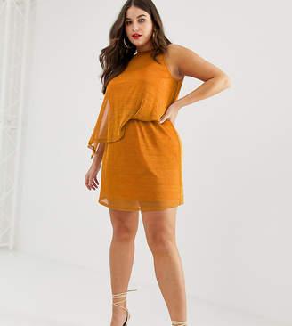 Asos DESIGN Curve one shoulder metallic chainmail mini dress