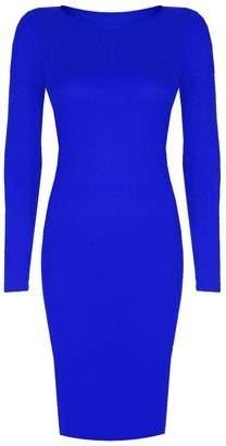 VIP Womens Long Sleeved Scoop Neck Midi Dress (Aqa) (4/6 (uk), )