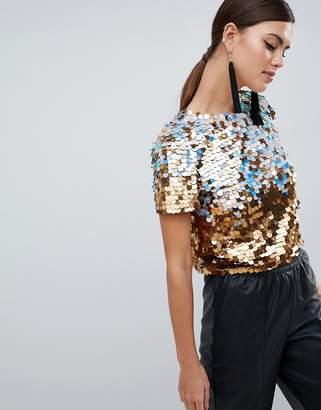 Asos Design DESIGN Premium Ombre Disco Sequin T-Shirt