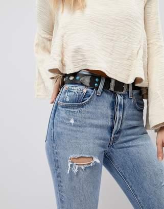Asos DESIGN Western Turquoise Stone Waist & Hip Belt