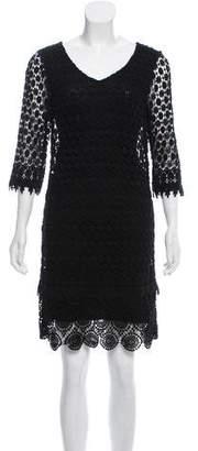 Velvet Crochet Short Sleeve Dress