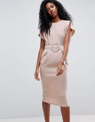 Asos DESIGN Split Cap Sleeve Midi Dress With Circle Belt