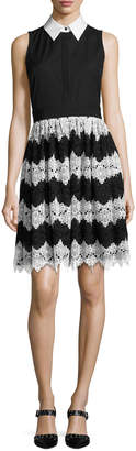 Alice + Olivia Stari Collared Flare Midi Dress, Multi