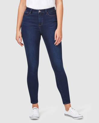 Jeanswest Feather Touch High Waisted Skinny 7/8th Inky Blue Jeans