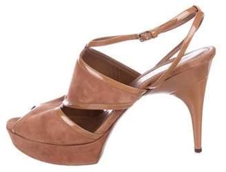 Saint Laurent Suede Caged Sandals