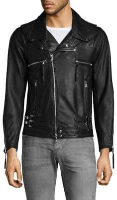 John Elliott Zippered Moto Leather Jacket