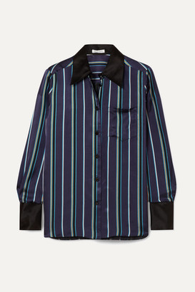Bella Freud Little Prince Striped Satin Shirt - Navy