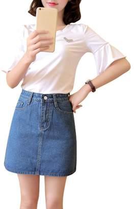 Drasawee Women's A Line High Waist Denim Skirt Mini Short Dress M