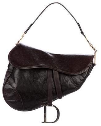 Christian Dior Embossed Leather Saddle Bag