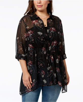 Style&Co. Style & Co Plus Size Sheer Floral-Print Tunic, Created for Macy's