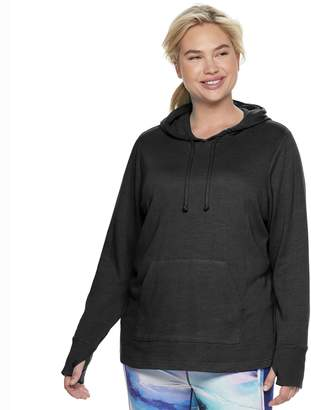 b4bf7ce61ed8 Tek Gear Plus Size French Terry Thumb Hole Hoodie