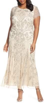 Pisarro Nights Beaded Short Sleeve Column Gown