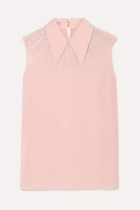 b76b47fa Miu Miu Crystal-embellished Silk Crepe De Chine Top - Baby pink