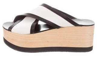 Isabel Marant Slide Leather-Trimmed Wedges