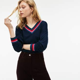Lacoste Women's V-neck Contrast Accent Silk Cotton Jersey Sweater
