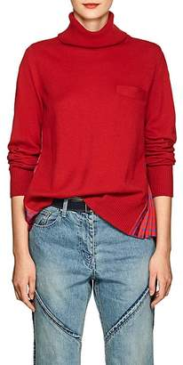 Sacai Women's Floral-Satin-Back Wool Sweater