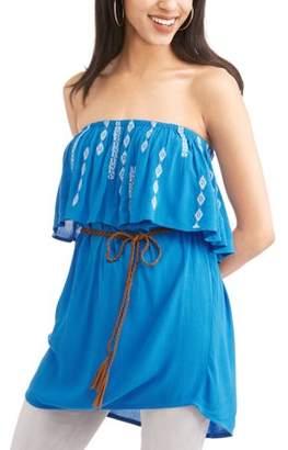 Cherokee Women's Wear 3 Ways Ruffle Top