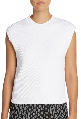 3.1 Phillip Lim Asymmetrical Ribbed Cap-Sleeved Sweater