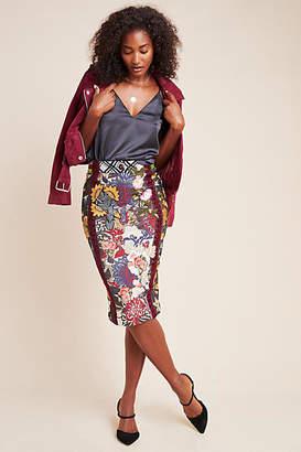 Byron Lars Jessica Floral Pencil Skirt