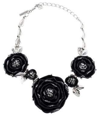 Oscar de la Renta Resin & Crystal Flower Collar Necklace