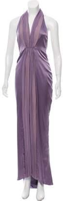Christian Dior Greene Sleeveless Halter Evening Dress