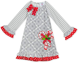 Rare Editions Toddler Girls Ruffle-Trim Candy Cane Dress