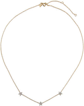 Ef Collection 14k Gold Diamond 3-Flower Necklace