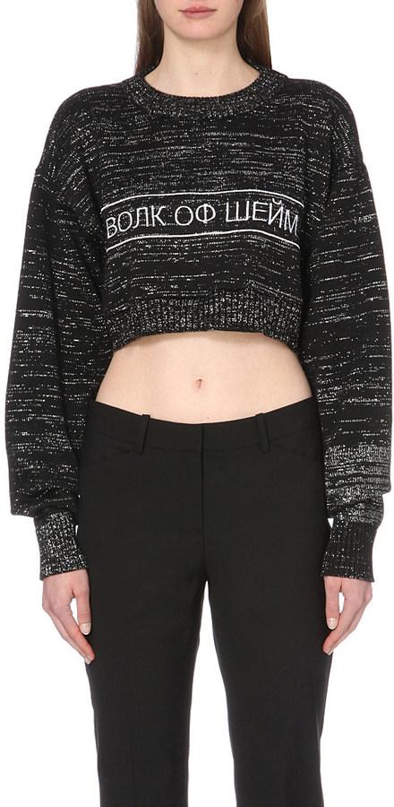 WALK OF SHAME Slogan-embroidered cropped jumper