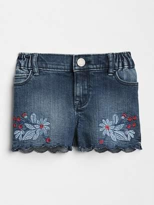 Gap Embroidery Scalloped Denim Shorts