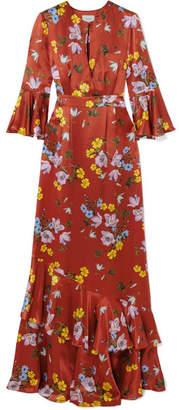 Erdem Venice Floral-print Silk-satin Gown - Brick