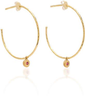 Octavia Elizabeth Nesting Gem Ruby and 18K Gold Hoop Earrings