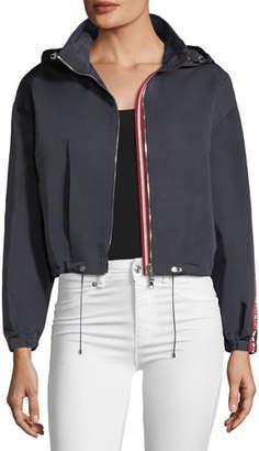 Moncler Zirconite Logo-Sleeve Cropped Jacket