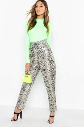 59c915d1beb00 boohoo Snake Print Leather Look Belted Pants