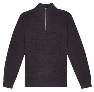 Burton Mens Charcoal Textured Half Zip Jumper