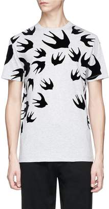 McQ 'Swallow Swarm' velvet flock print T-shirt
