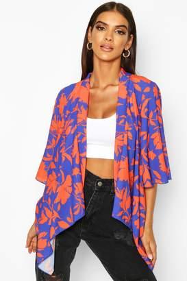 boohoo Floral Print Swing Kimono