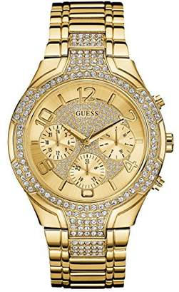 GUESS Gold-Tone Stainless Steel Crystal Embellished Bracelet Watch with Day