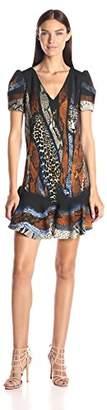 Just Cavalli Women's Leo Naif Print Dress With Flounce Hem
