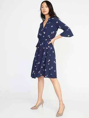 Old Navy Waist-Defined Floral Shirt Dress for Women
