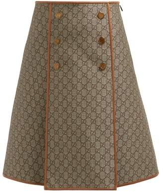 Gucci A Line Gg Jacquard Cotton Blend Skirt - Womens - Beige Multi