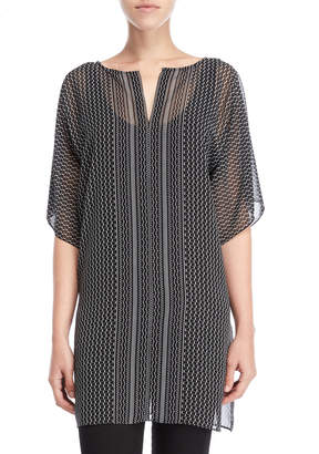 Max Studio Printed Split Neck Tunic