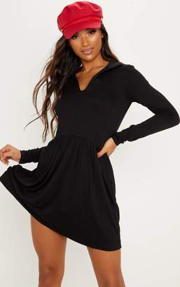 PrettyLittleThing Black Tiered Long Sleeve Smock Dress