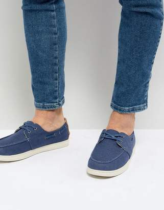Toms Canvas Boat Shoes In Navy