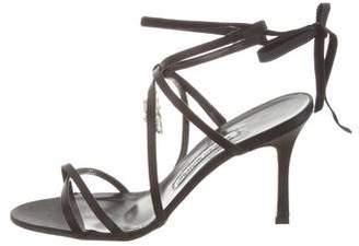 Manolo Blahnik Satin Lace-Up Sandals w/ Tags
