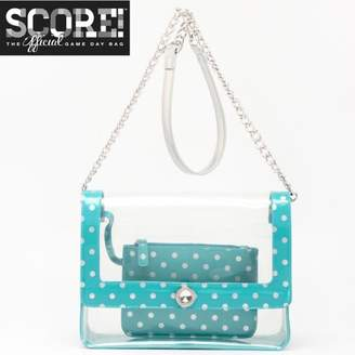 clear PU Cross Body Shoulder Bag for Game Day Chrissy Turquoise & Silver by SCORE! The Official Game Day Bag Two Piece Set