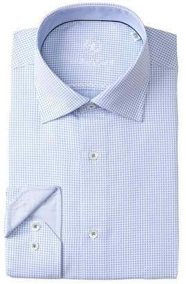 Bugatchi Check Print Shaped Fit Dress Shirt