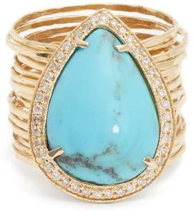 Jacquie Aiche - Diamond, Turquoise & Yellow Gold Ring - Womens - Blue